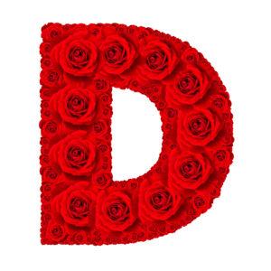 Rose alphabet set - Alphabet capital letter D made from red rose