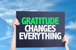 Gratitude Changes Everything card with sky background