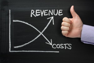 Revenue Versus Costs on a Blackboard with Thumbs Up